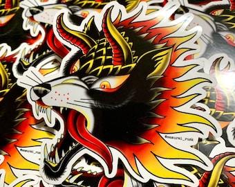 Hound - Vinyl Sticker - Tattoo Flash