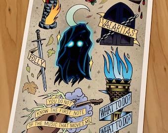 KingKiller Flash - (The Name of the Wind) - Tattoo Flash - Art Print