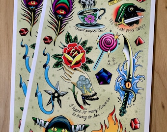 Mighty Nein (Critical Role) Tattoo Flash Sheet - Art Print