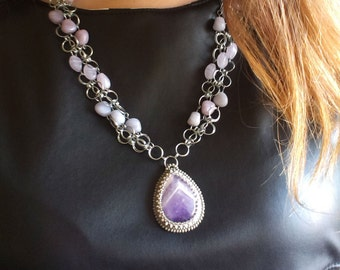 Exclusive jewelry No repeating Ultra Violet Chainlink necklace Wire wrap Bib necklace Amethyst pendant Beaded pendant Palladium Gift for her