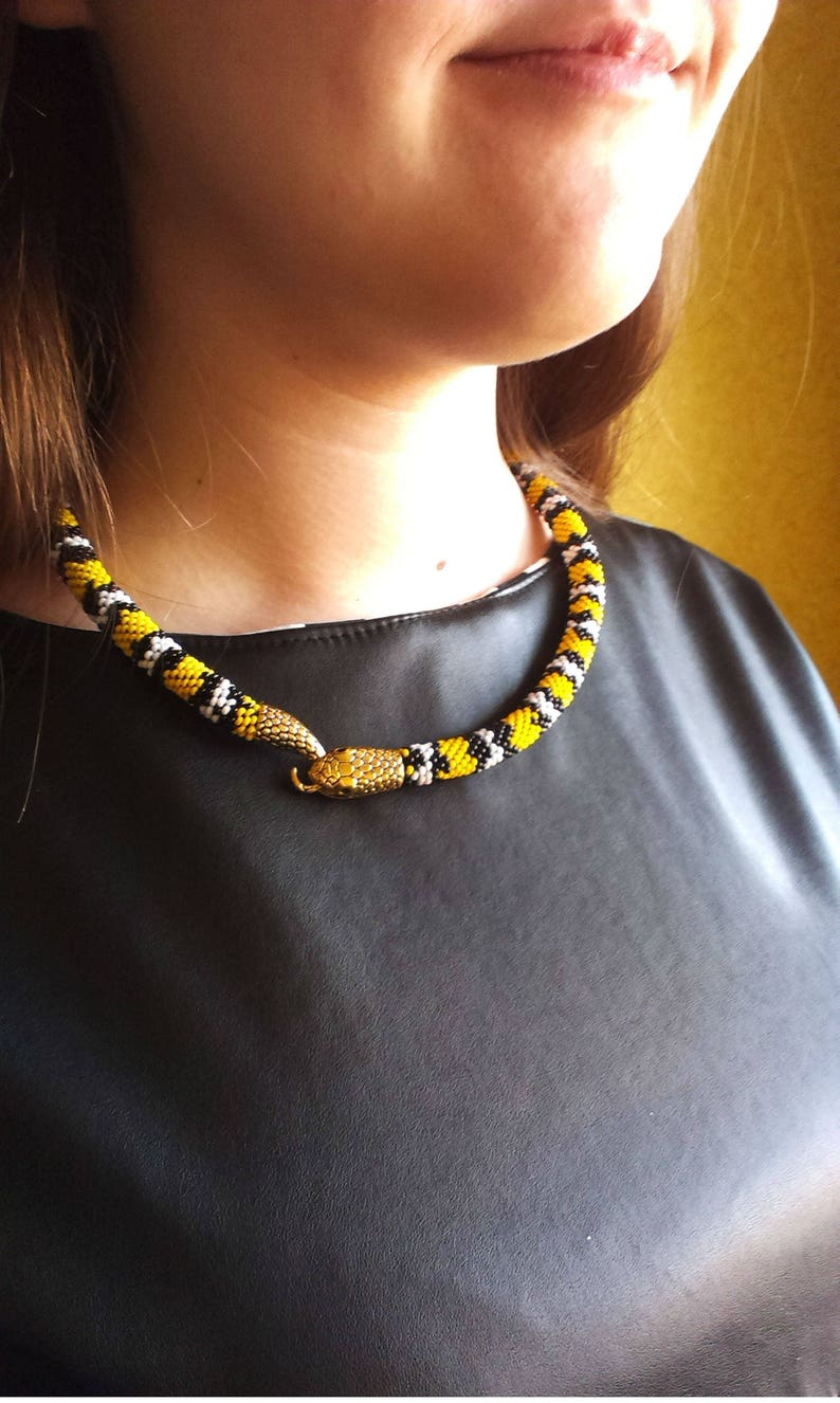 Venomous snake Bead necklace Asp Gift for her For women Yellow jewelry Vamp Birthday Snake with a tail and a head Viper Christmas Halloween
