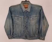 Rare Bobson Limited Version Selvedge Denim Jacket Size Large Distressed Jeans Jacket Levis Wrangler Lee Edwin