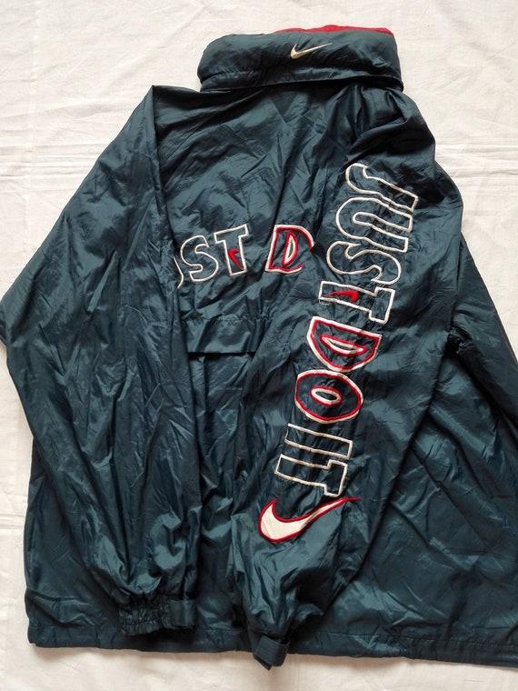 Sale!! Rare!! Vintage Nike Swoosh Just Do It Big logo WindbreakerJacket Size MediumLarge