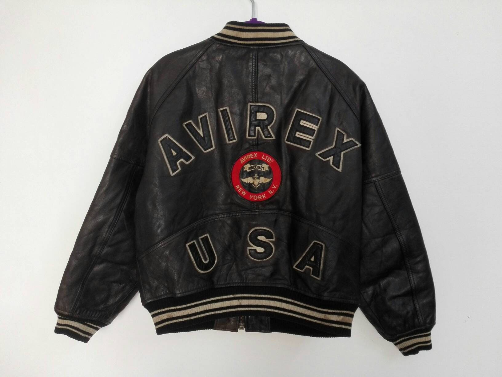 f64fa6481e026 Sale Rare Vintage Avirex USA Full Leather Jacket Avirex Ltd