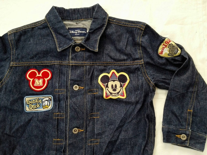 1eae84ff85 Sale!! Vintage Mickey Mouse Donald Duck Disney Denim Jacket Size 110 Kids