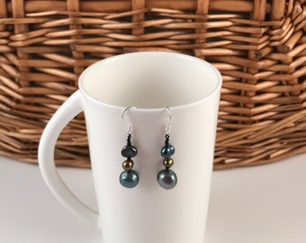 Fashion jewelry, sterling silver hook earrings, fresh water pearl, free shipping