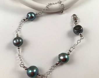 Natural pearl,Fresh water pearl bracelet, fashion jewelry,gift for her, free shipping