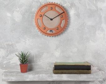 Unique wall clock, copper clock, automotive decor, unique gift, sprocket clock, motorcycle gift, housewarming gift, industrial wall clock