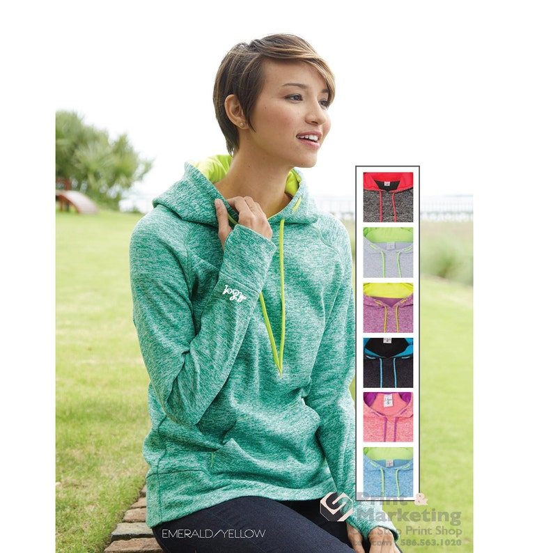 Duo Tone Ladies Custom Pullover Hood Personalized Hoodie Custom Sweatshirt Workout Work out wear gym with thumb-hole thumb hole monogram