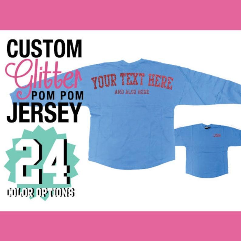 57b09290ace1d Pennant Custom Glitter Pom Pom Shirt / Personalized Billboard Jersey /  Spirit Wear / Gifts For Her / Sparkly Shirt / Glitz Sparkle