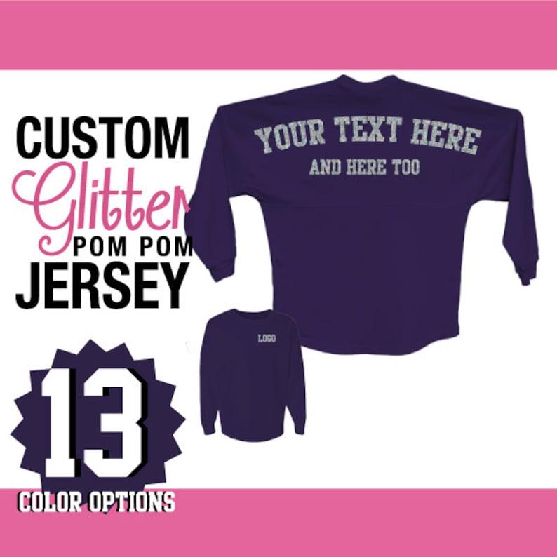 4cd4c7506949f J America Custom Glitter Pom Pom Shirt / Personalized Billboard Jersey /  Spirit Wear / Gifts For Her / Sparkly Shirt / Glitz Sparkle