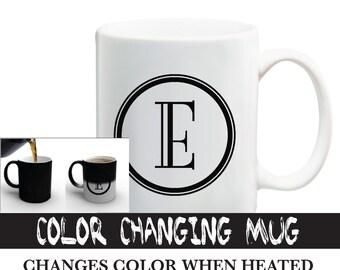 Color Changing Initial Letter Mug / Black Color Changing Mug / Personalized Mug / Available A-Z Alphabet Mug