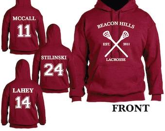 Beacon Hills Teen Wolf Lacrosse Hooded Sweatshirt Sports Scott McCall 11 Hoodie Stiles Stilinksi 24 Lacrosse Hoodie