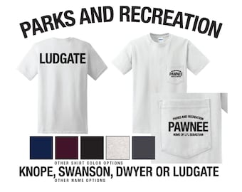 Parks and Recreation Shirt With Pocket Ludgate Pawnee Knope Swanson rat li'l sebastian Leslie Mouse Dwyer Pocket Tee Parks and Rec Custom