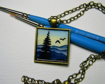 Medium brass pendant Necklace - Mountains, birds, pine trees - Nature necklace - Original Painting