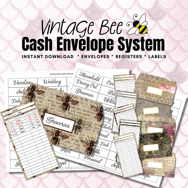 Vintage Bee Printable Cash Envelopes  Cash Envelope Inserts  image 1