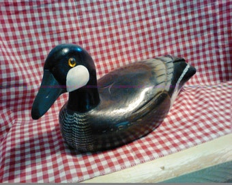 1-Wooden Gray Goose Decoy / Hand Painted / Glass Bead Eyes /  Decoy or Decorations