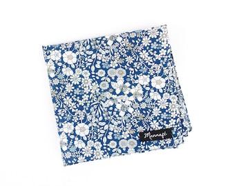"Pocket square, handkerchief pocket, ""June's meadow navy"" Liberty, accessory, wedding"