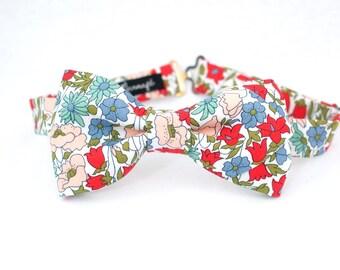Noeud papillon en Liberty fleuri, pré-noué et réglable, couleurs rose, bleu, rouge, mint
