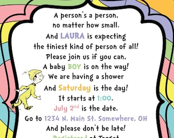 Dr. Seuss Baby Shower Invitation - Oh The Places You'll Go