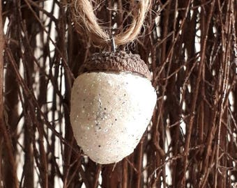 Clay Acorn white Glitter Decoration, With real acorn tops, fall home decor