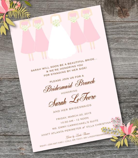 Bridesmaid Brunch Invitation Printable Bridesmaid Luncheon Etsy