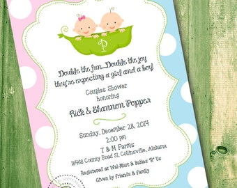 Twin Baby Shower Invitation -2 Peas in a Pod -PRINTABLE -Baby Shower -CUSTOM -Monogram Baby Invitation -Baby Boy -Baby Girl -Double the fun