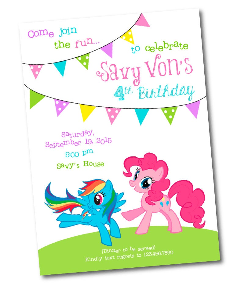My Little Pony Birthday Invitation PRINTABLE Rainbow Dash