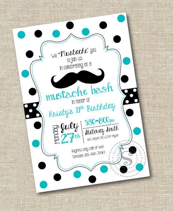 Mustache Birthday Invitation Printable Mustache Bash Custom Etsy