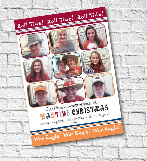 Brady Bunch Christmas Card.Items Similar To Blended Family Christmas Card Brady Bunch