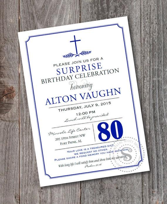80th Birthday Invitation PRINTABLE Celebration