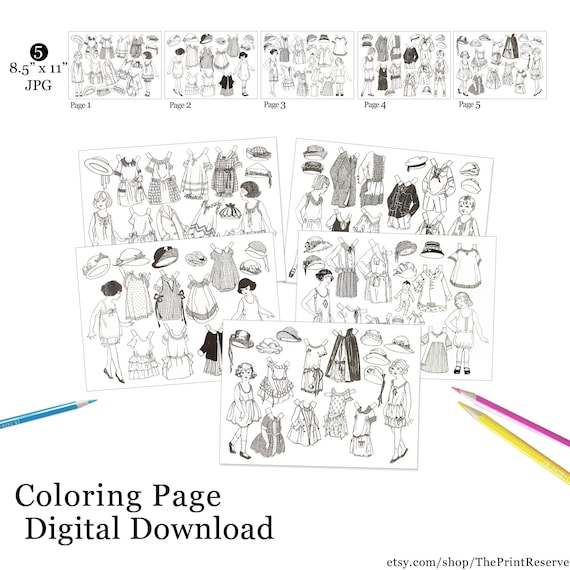 Paper Doll Coloring Pages Printable Digital Download Etsy