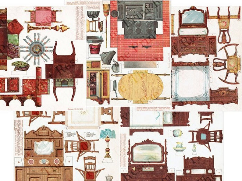 image about Printable Dollhouse known as Paper Dollhouse Home furnishings Printable Antique Victorian Miniatures Electronic Obtain Shots 1:24 Scale