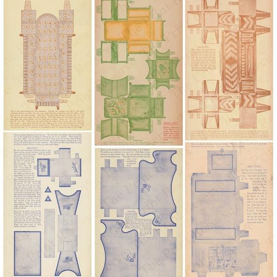 Paper Dollhouse Furniture Art Deco Printable Antique Digital Etsy