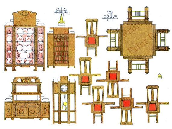 Printable Paper Doll Furniture Antique Digital Download Images