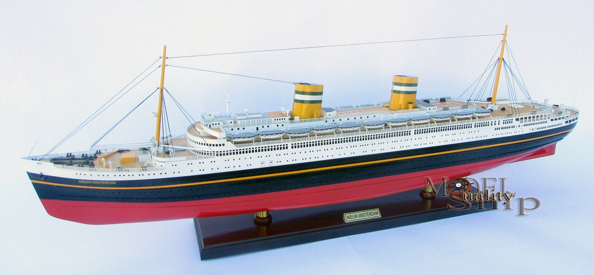 SS Nieuw Amsterdam Holanda línea Ocean Liner barco de madera