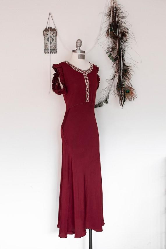 Vintage 1930s Beaded Dress/ Art Deco Look/ Rayon C