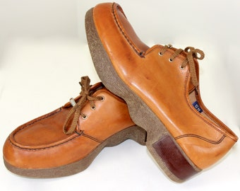 8bf3ef5e12 Vintage 1970's Men's Famolare Platform Shoes size 12 M with Wavy Soles  Iconic Get There Rare Disco