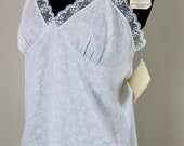 New Old Stock White Jacquard Camisole size 36 Rayon Blend Lace Trim Rayon Blend New with Tags Floral Roses