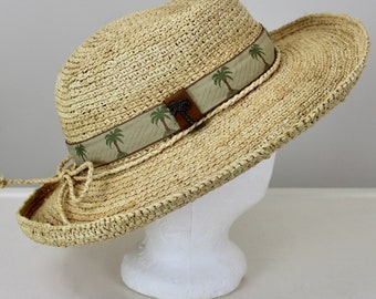 c33ba0789ce4d Scala Collection Natural Fibers Woven Sun Hat with Rolled Brim Panama Style  Palm Tree Trim Excellent Condition Mothers Day Gift Beach Garden