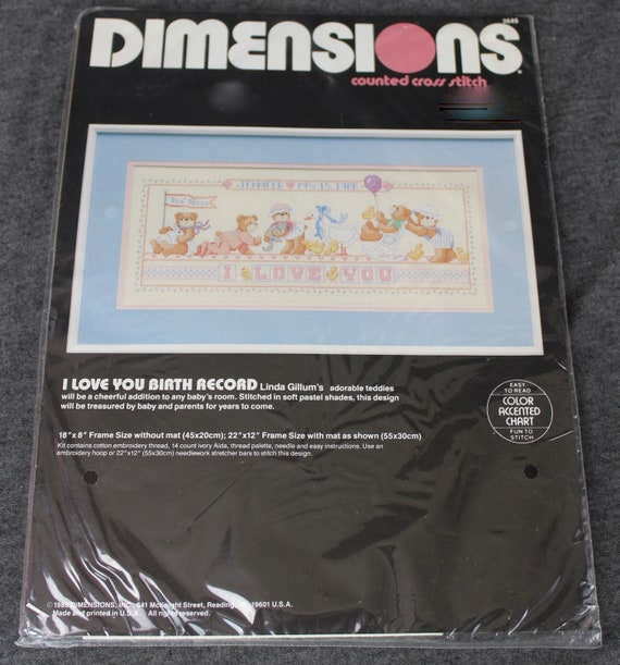 Dimensions Counted Cross Stitch Kit Baby LITTLE POND BIRTH RECORD