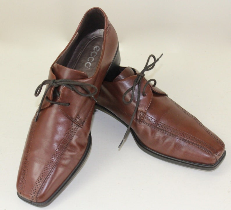 31662476 Ecco Mens Size 8 Brown Leather Bicycle Toe Dress Shoes with Soft Soles Lace  Up EU 41 Excellent Condition