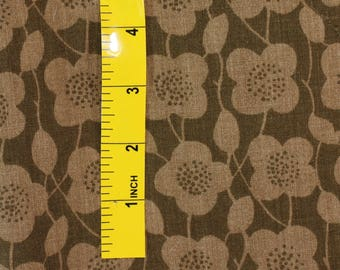"""1979 Vintage Fabric by GEAR """"Flower Patch"""" Browns 2 yards"""