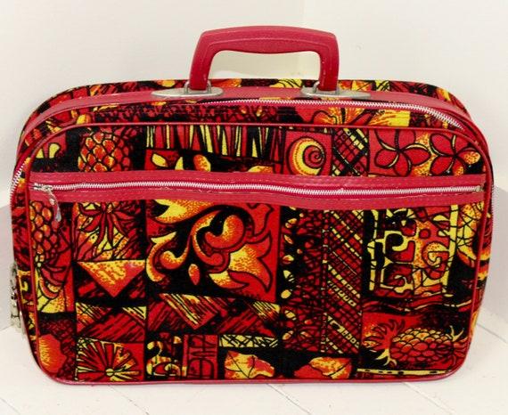 Vintage 1970s Tiki Overnight Small Suitcase Briefc