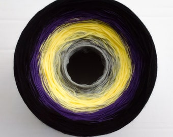 Gray Yellow Violet Black Gradient Cake Yarn, 8 Cotton Threads Hand-Plied Together (not Twisted), Crocheters & Knitters Favorite Kind of Cake
