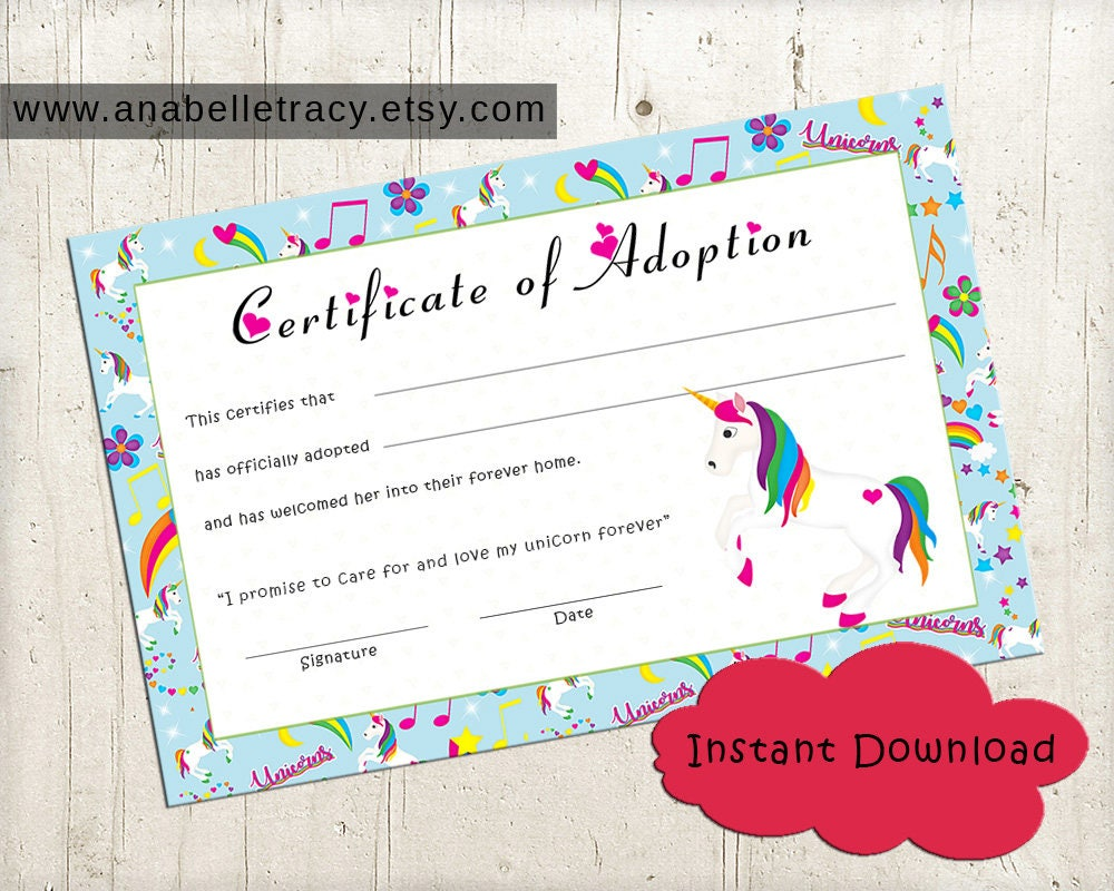 Adopt A Unicorn Certificate For Adoption For Girls Birthday Etsy
