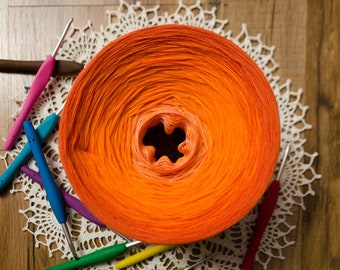 3 Shades of Orange Ombre Gradient Cake Yarn 8 Cotton Threads Hand-Plied Together (not Twisted) Crocheters And Knitters Favorite Kind of Cake