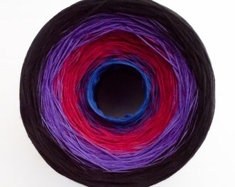 Blue Red Violet Black Gradient Cake Yarn, 8 Cotton Threads Hand-Plied Together (not Twisted), Crocheters & Knitters Favorite Kind of Cake