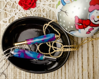 Blue Pink Seam Ripper With Magnetic Necklace in Chrome or Gold Plated, Christmas Gift for Seamstress Tailor Sewist Sewer