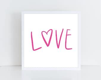 Love Printable   Girls Nursery Printable   Valentine's Day Printable